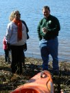 Education Coordinator, Alice French, and National Fish and Wildlife Service Refuge Manager, Andy Hoffman, debate the pros and cons of kayaking on a cold, windy day.