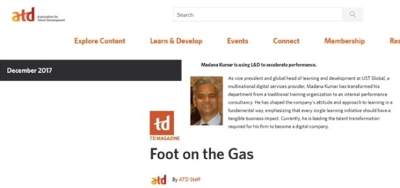 Dr. Madana Kumar Featured in the TD Magazine