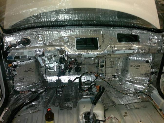 виброизоляция моторного щита приора