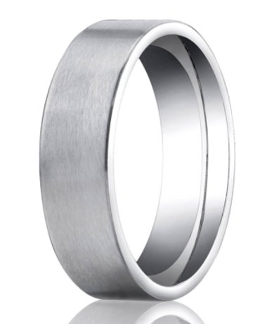 Designer Platinum Wedding Ring 2 Grooves Satin Finish
