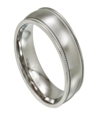 Stainless Steel Wedding Ring For Men With Milgrain Edges