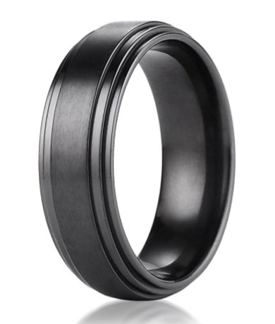 Mens Designer Black Titanium Wedding Ring