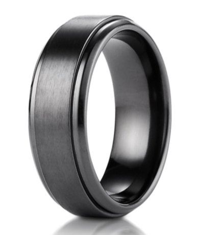 Mens Designer Black Titanium Wedding Band