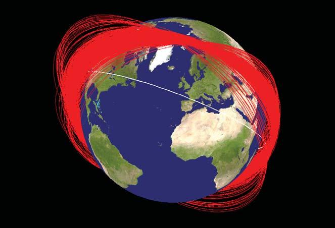 Imagem mostra as órbitas individuais dos cacarecos que sobraram do satélite chinês um mês após a detonação. Um bocado de lixo espacial.