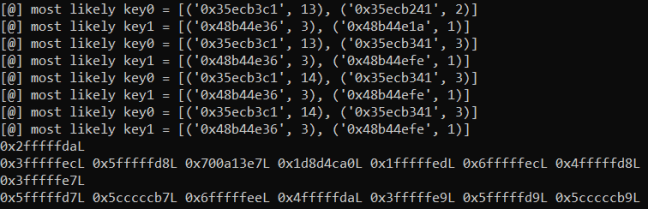 Output of a simple PoC to read 8 bytes of the key (above), and use those to read uninitialized data (below)