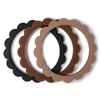 Mushie - Siliconen Bijtring/armband - Black/Nat/Caramel