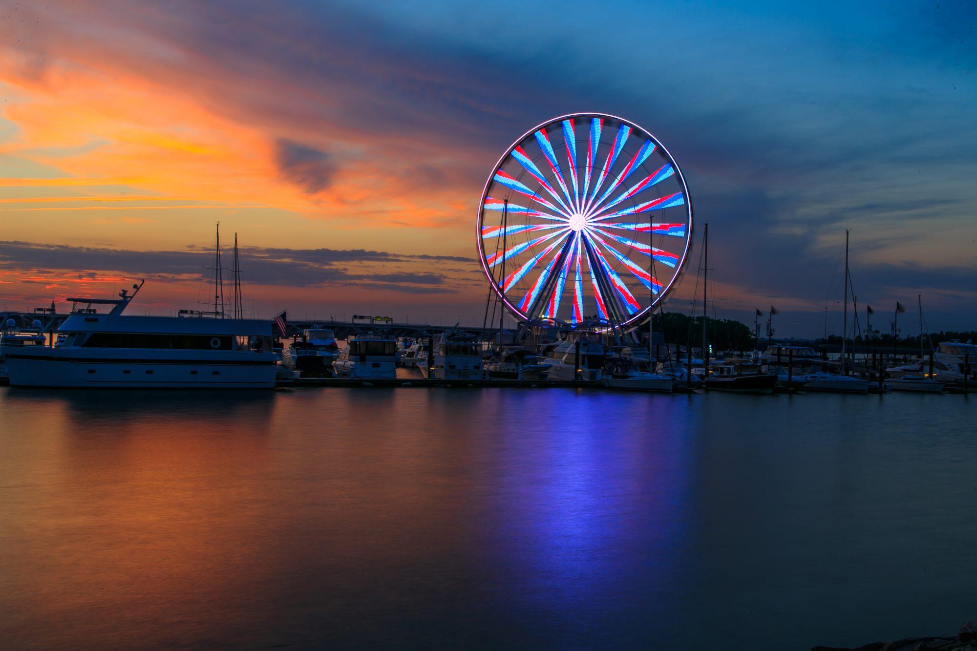 Red Blue Evening Capital Wheel