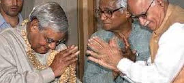 George Mathew Fernandes with Bajpai Ji and Advani JI