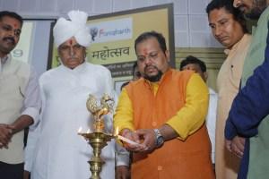 Roopenshu Pratap Singh Lighting The Lamp at Purusharth Mahotsav