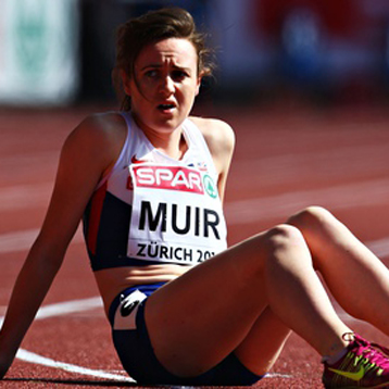 Laura Muir looks forlorn after finishing sixth in her 1,500m heat at the European Championships
