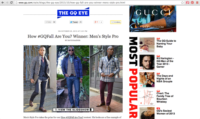 Sabir Peele on GQ.com #GQFall Winner