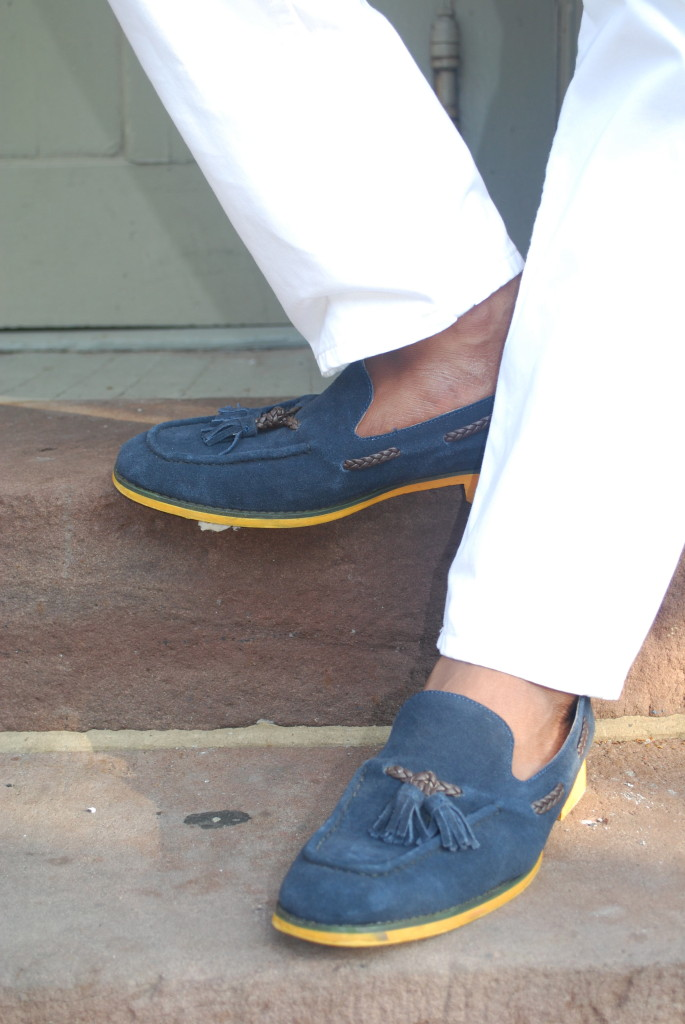 JD Fisk Blue Suede Tassel Loafers