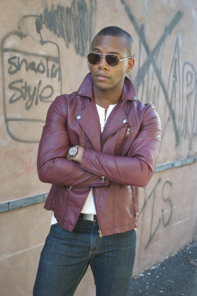 Sabir Peele in Oxblood Leather Jacket from Urban Outfitters