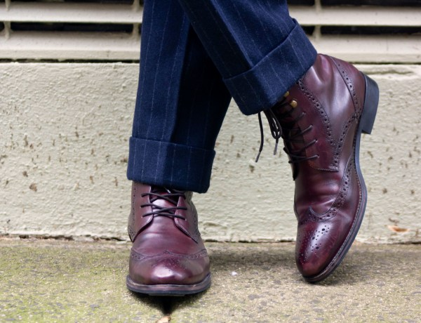 Men's Style Pro in Jack Wills Darrock Chalk Stripe Suit & Johnston & Murphy Tyndall Wingtip Oxblood Boots