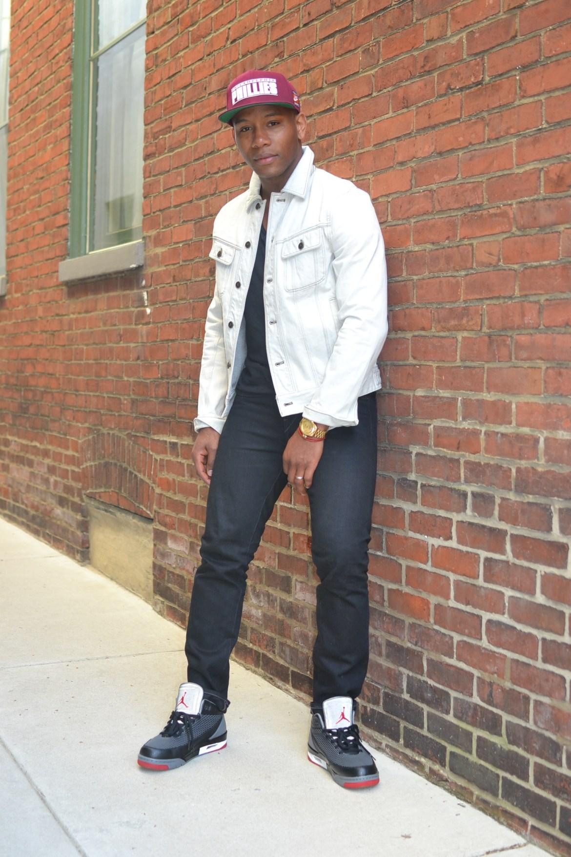 Sabir Peele in Onassis Clothing Bleached Denim Jacket
