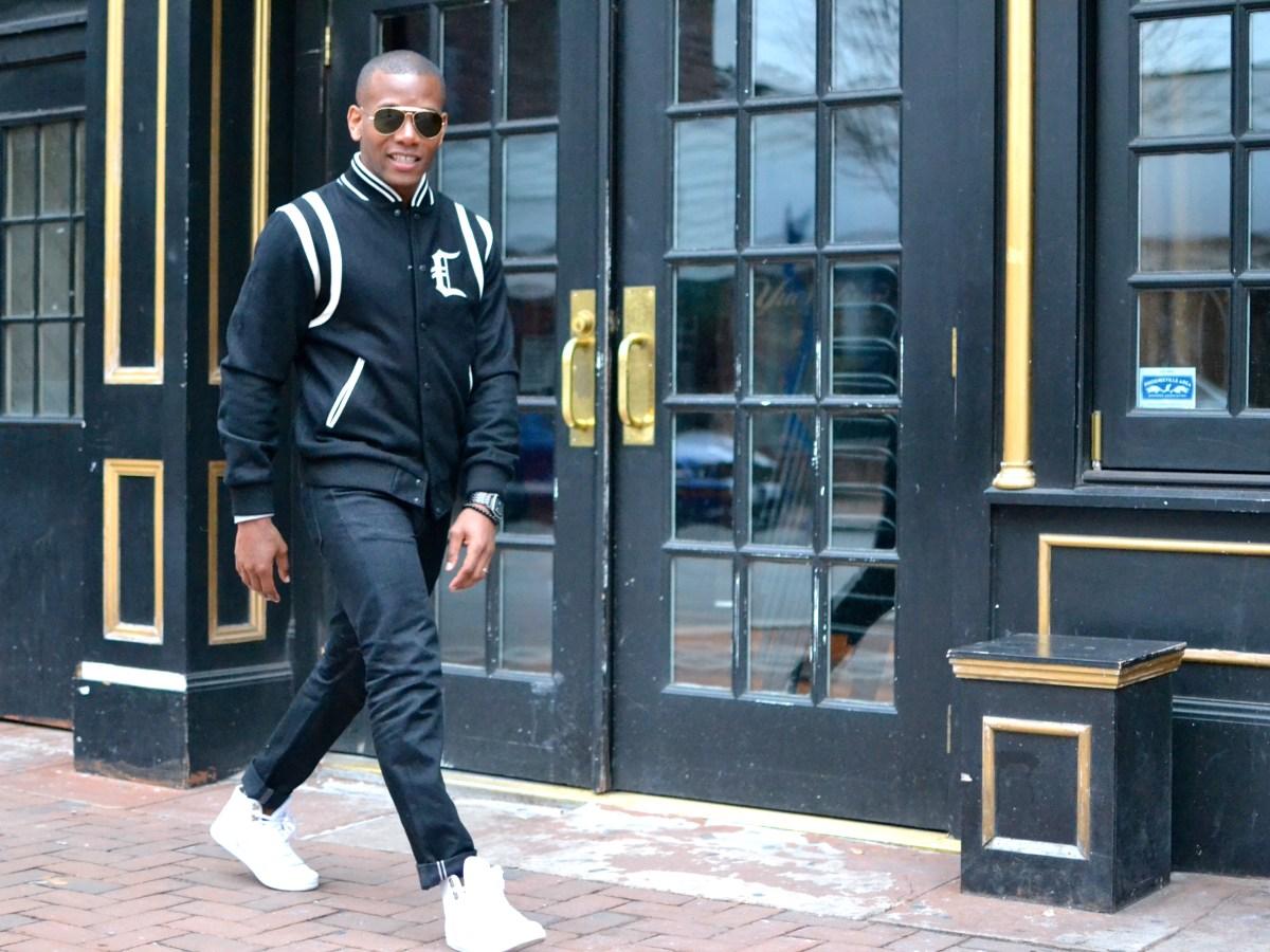 Sabir Peele in Crooks & Castles Varsity Jacket via Zappos