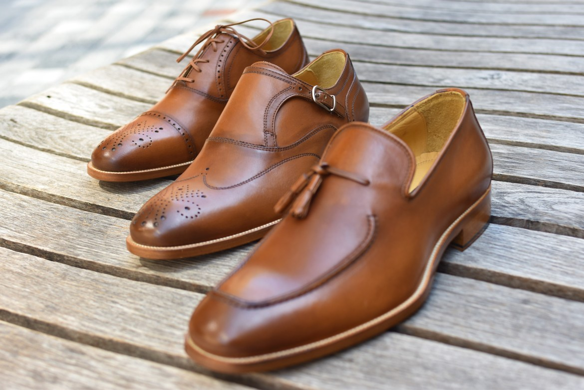Johnston & Murphy Handcrafted Italian Tan Calf Leather Shoes
