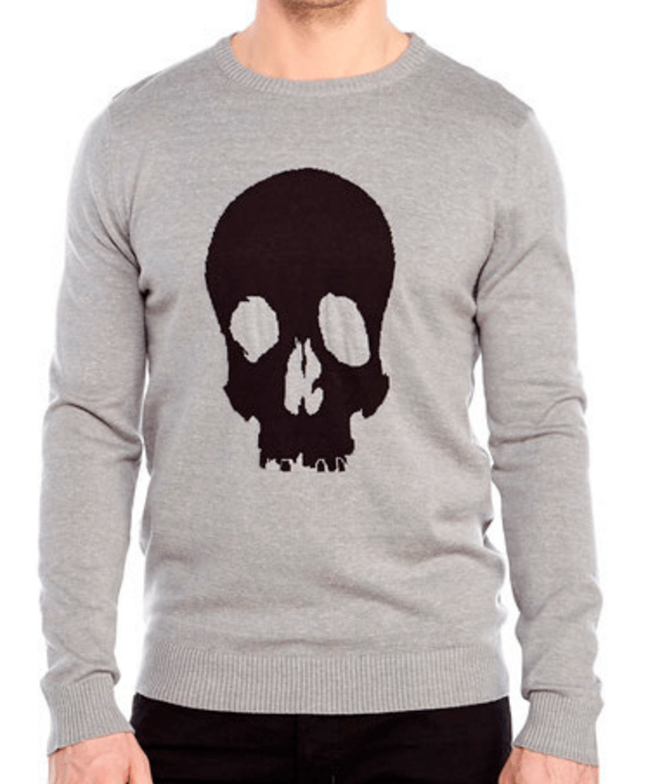 Brave Soul Grey Skull knit sweater c21 stores