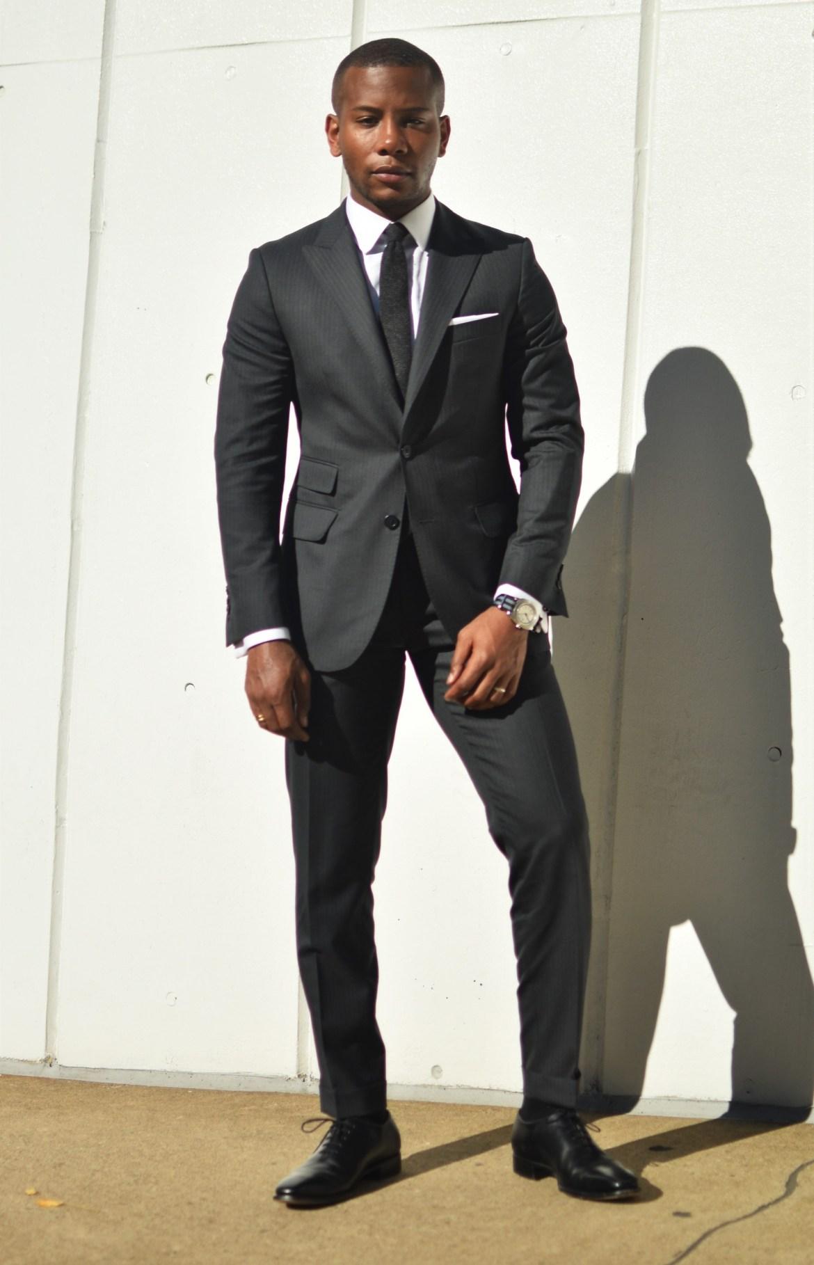 Sabir M. Peele in Oliver Wicks Track Stripe Suit