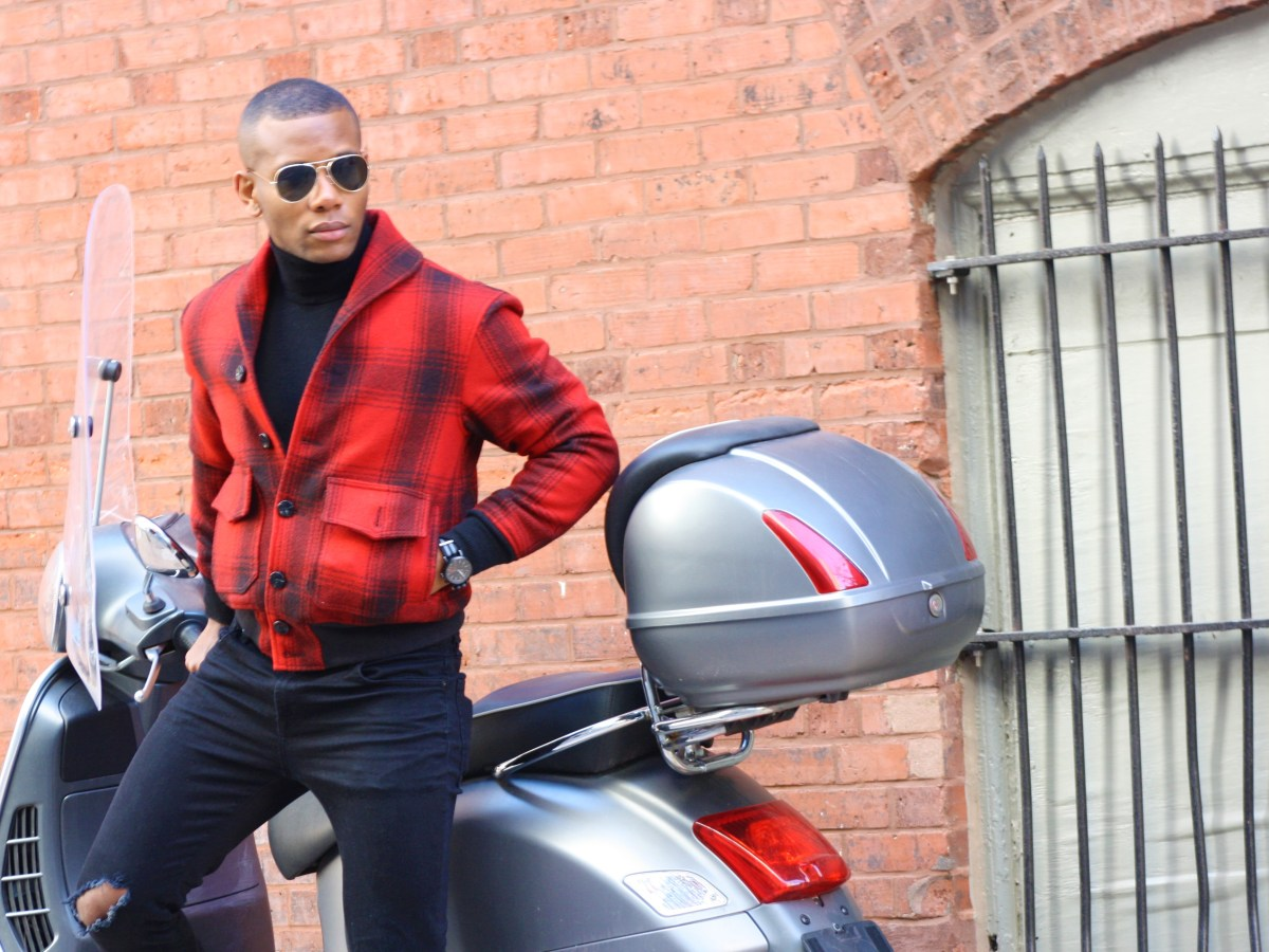 Sabir M. Peele of Men's Style Pro in Cockpit USA Buffalo Plaid Vintage Bomber Jacket