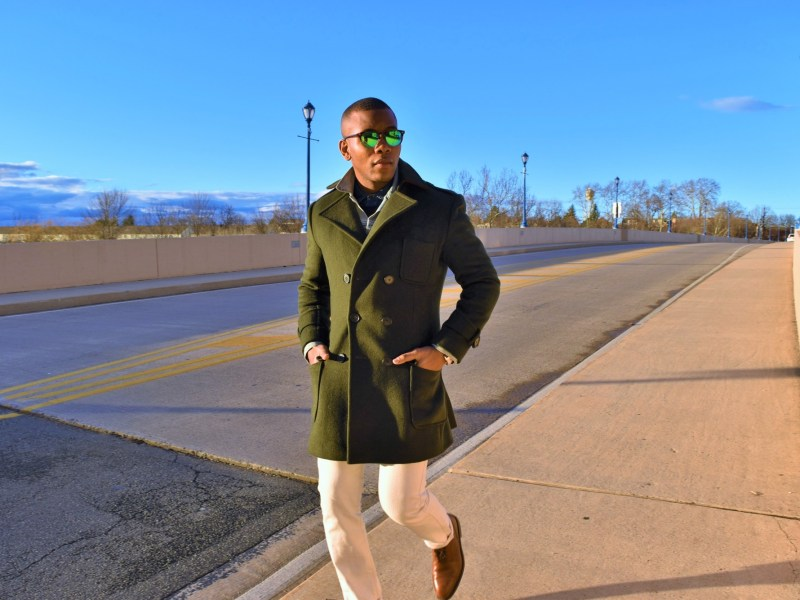 Double Breasted Green Wool & Cashmere Topcoat by Tailor 4 Less