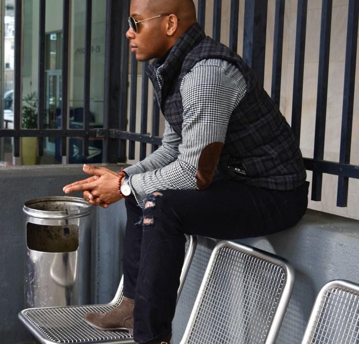 Men's Style Pro elbow patch j.crew shirt Sabir M. Peele