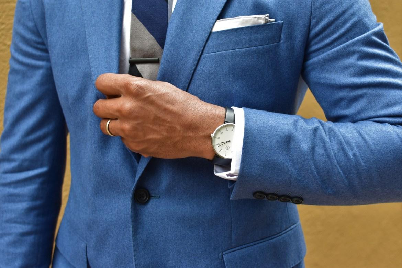 Sabir M. Peele of Men's Style Pro Hardy Amies Periwinkle Blue Suit
