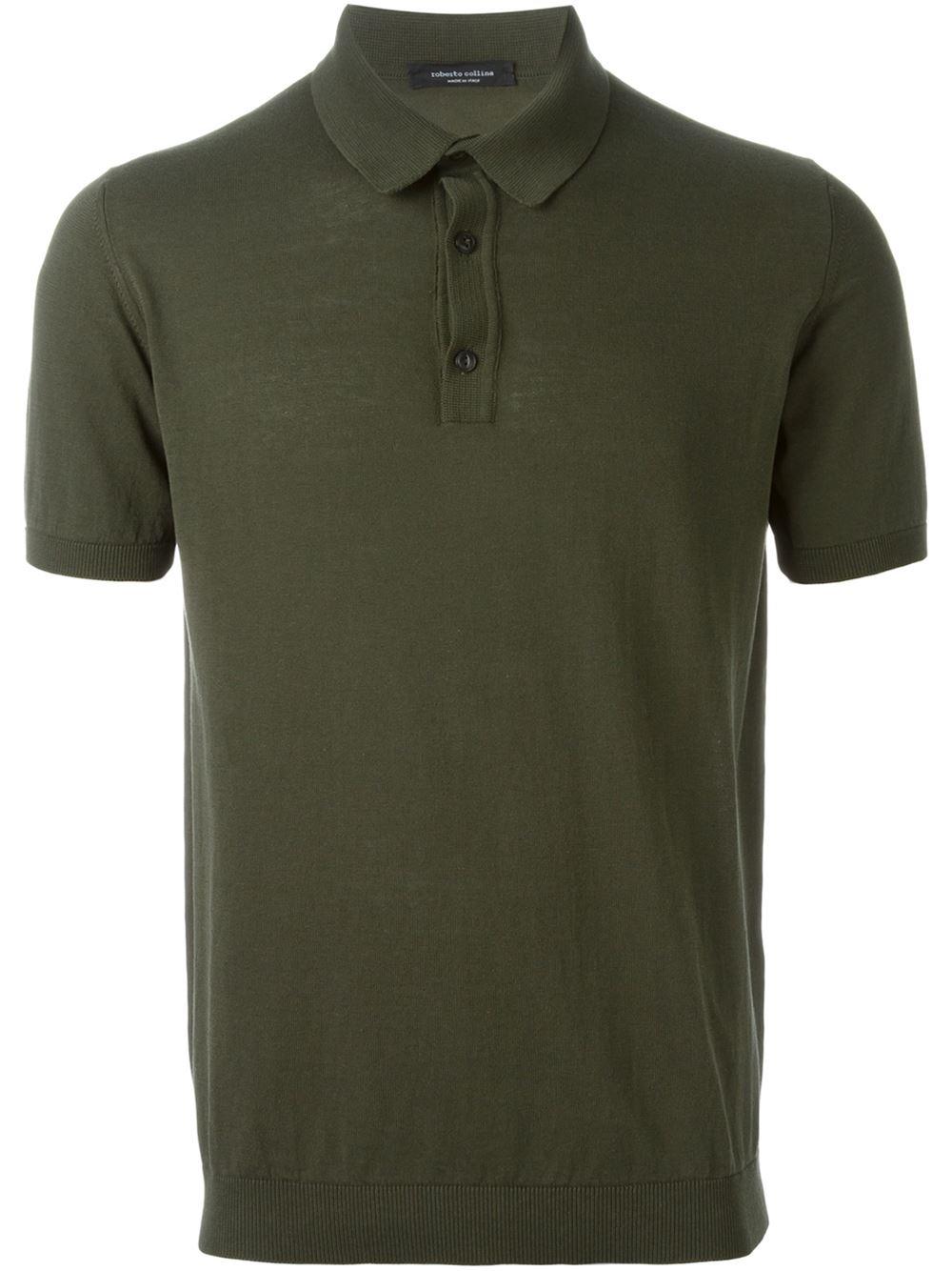 Roberto Collina Green Knit Polo Shirt