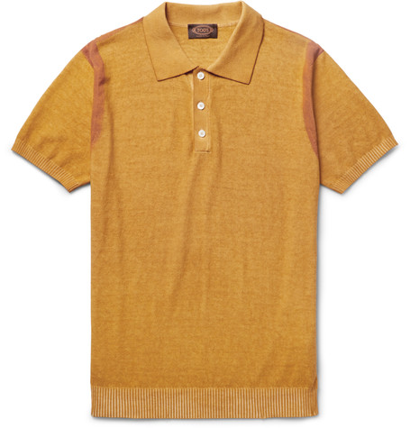 Tod Painted Knit Cotton Polo Shirt