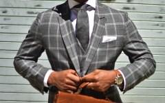 Sabir M. Peele Men's Style Pro in Grey Plaid Tailor 4 Less Suit