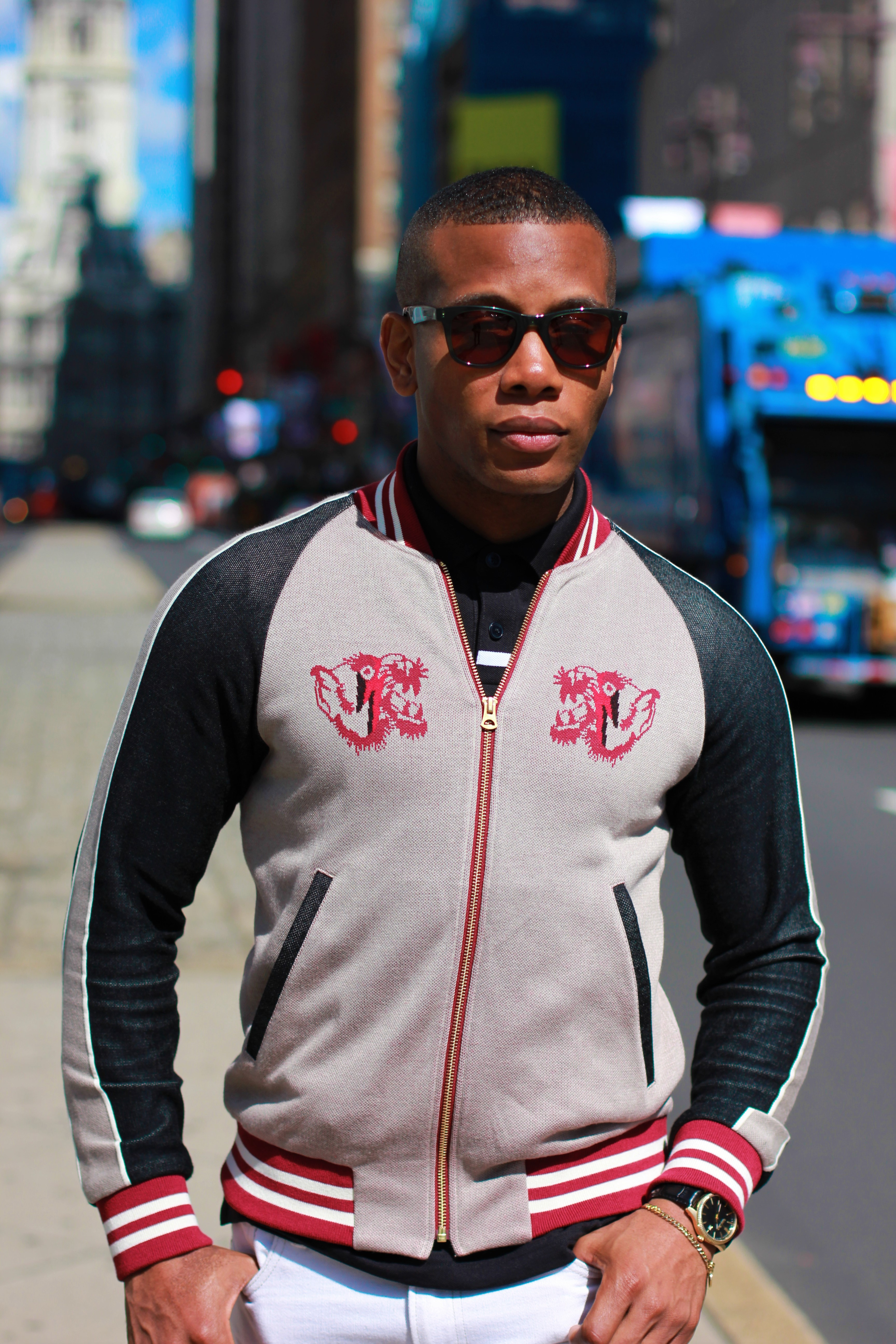 Sabir M. Peele of Men's Style Pro wearing Education For YoungMachines Silk Bomber Jacket from Farfetch