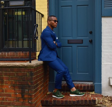 Sabir M. Peele of Men's Style Pro in Oliver Wicks Intense Blue Hopsack Suit