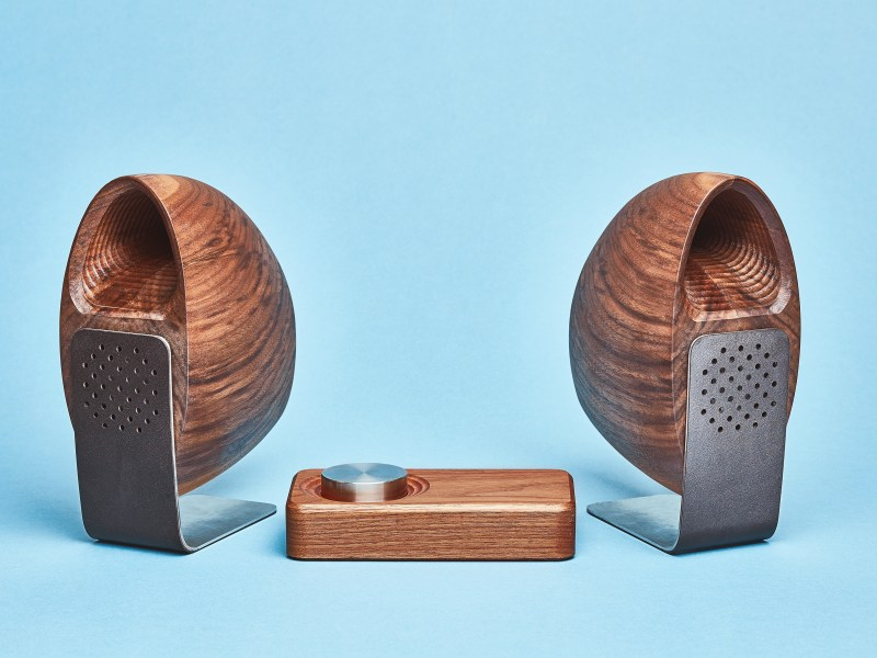 Grovemade - Speaker System - Blue Background - Walnut