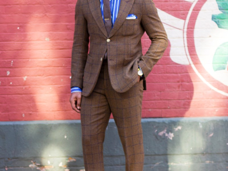 Men's Brown Tweed Windowpane Suit on Sabir M. Peele of Men's Style Pro