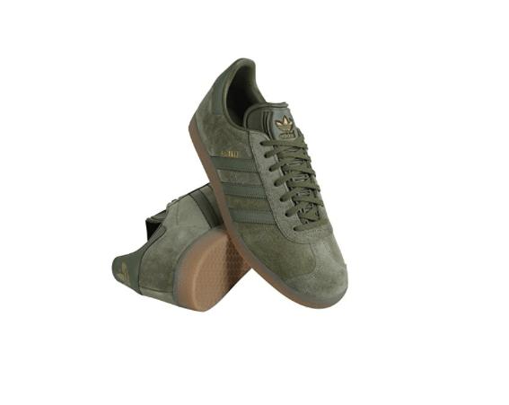 Adidas Gazelles Olive Green Suede Sneakers