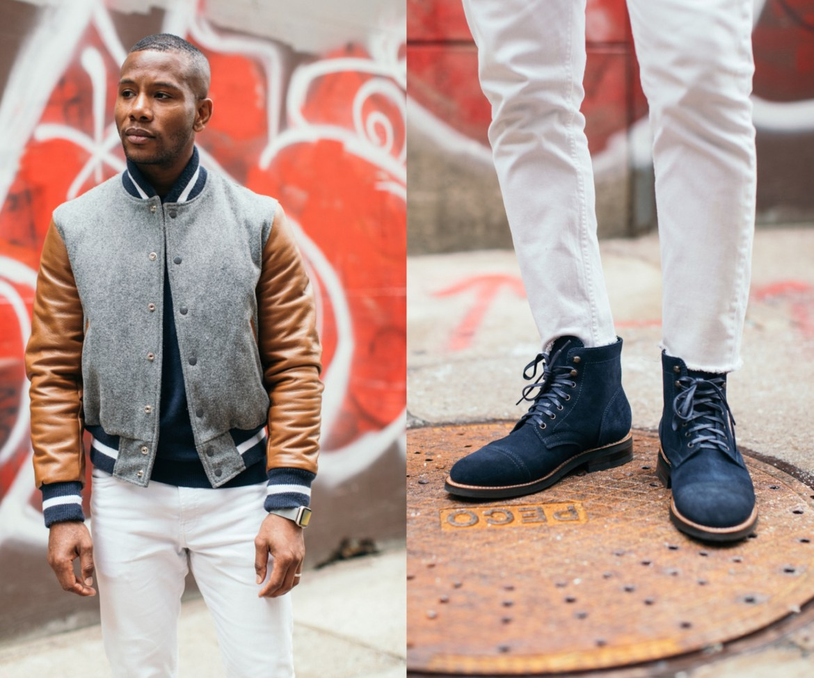 Sabir M. Peele of Men's Style Pro Ps & Qs Varsity Jacket and boots