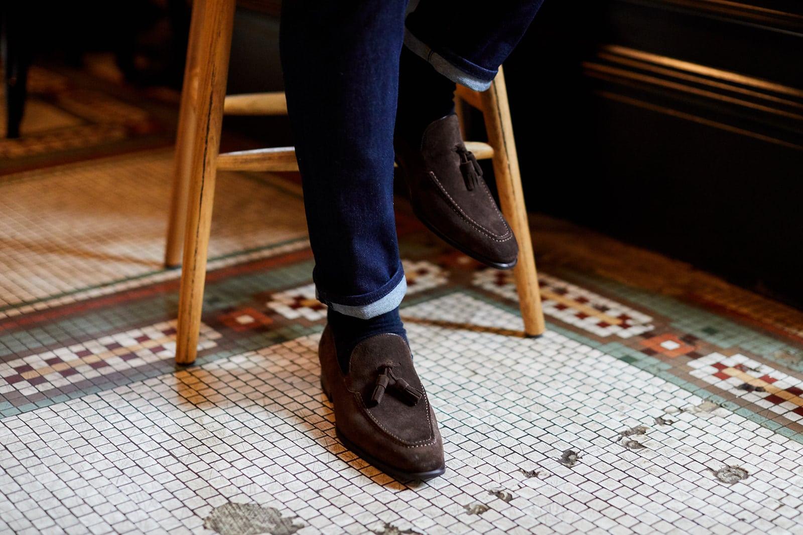 Donum Men's Chocolate Tassle Loafers