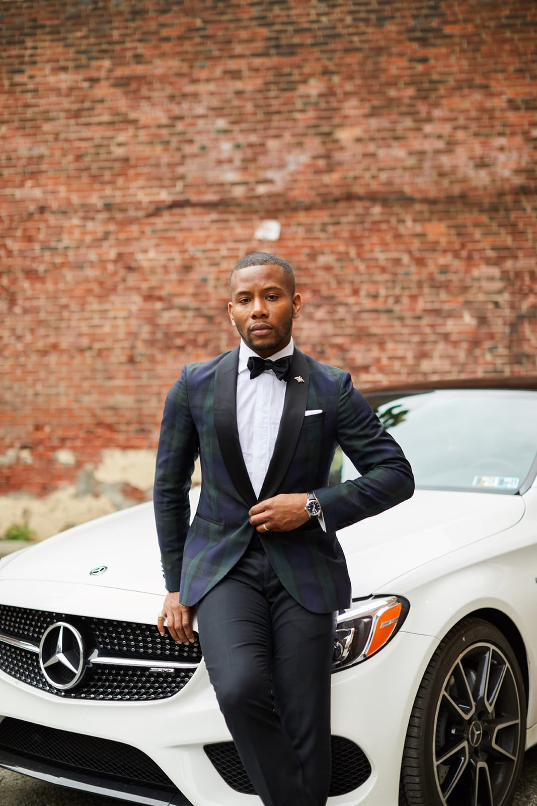 Sabir M. Peele in Hugo Boss Black Watch Plaid Blazer w/ Mercedes Benz AMG C 43