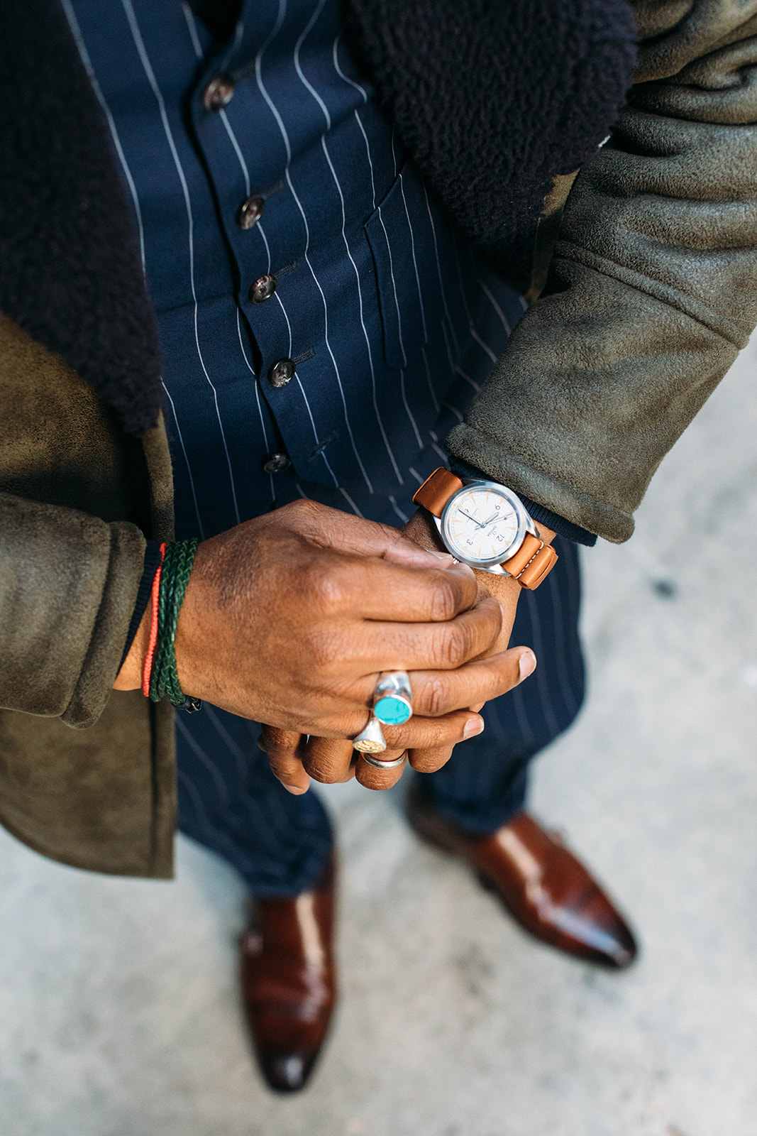 Sabir Peele of Men's Style Pro in Tallia Sherpa Coat & Degs & Sal Ring