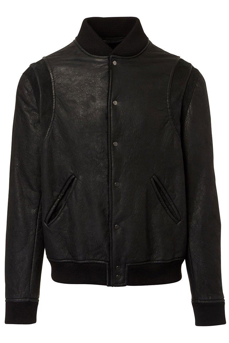 Salvatore Santora Black Leather Varsity Jacket via Boyd's Philadelphia