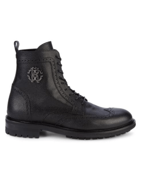 Roberto Cavalli Pebble Grain Combat Boot