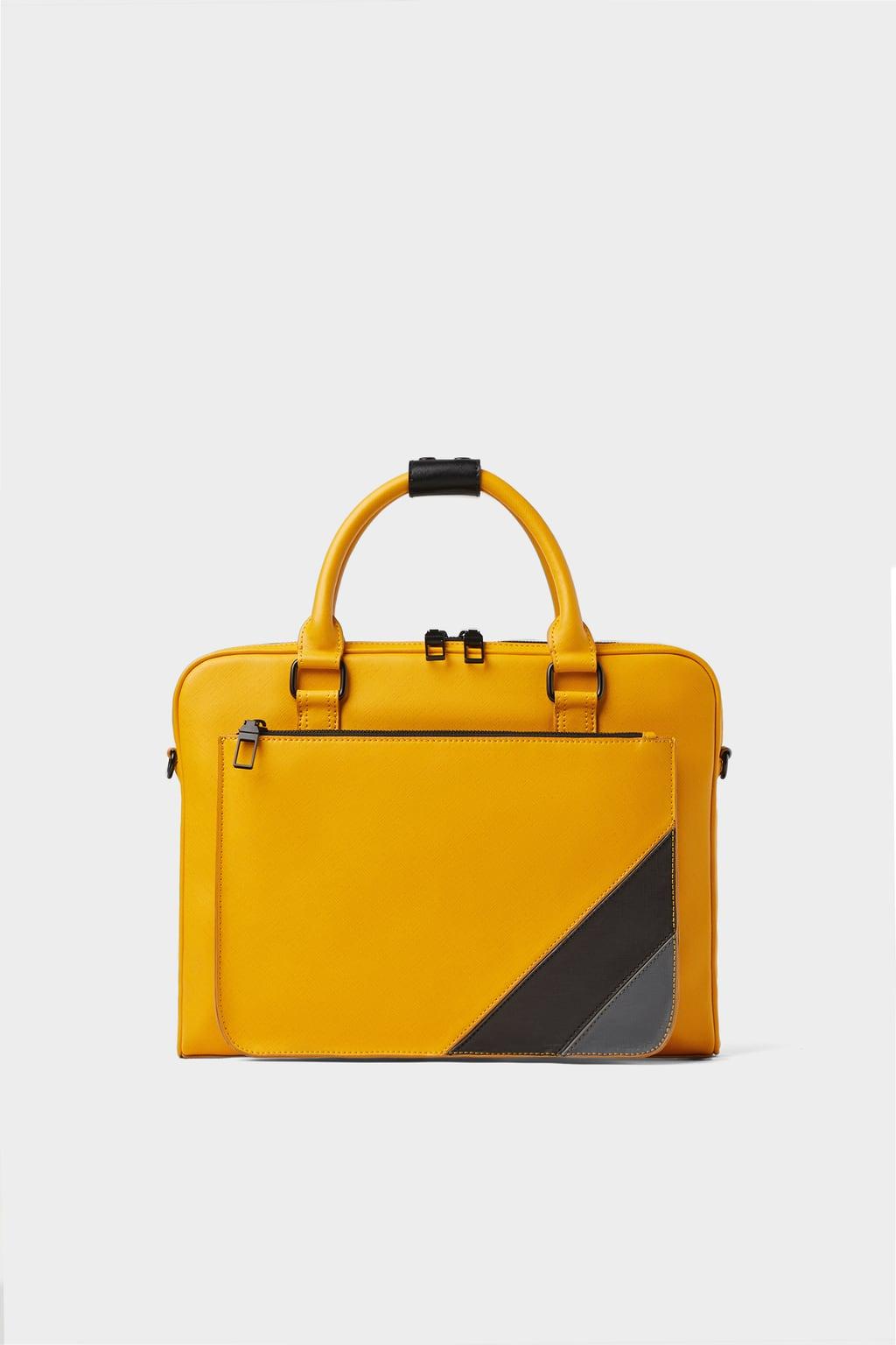 Zara Yellow Contrast Briefcase