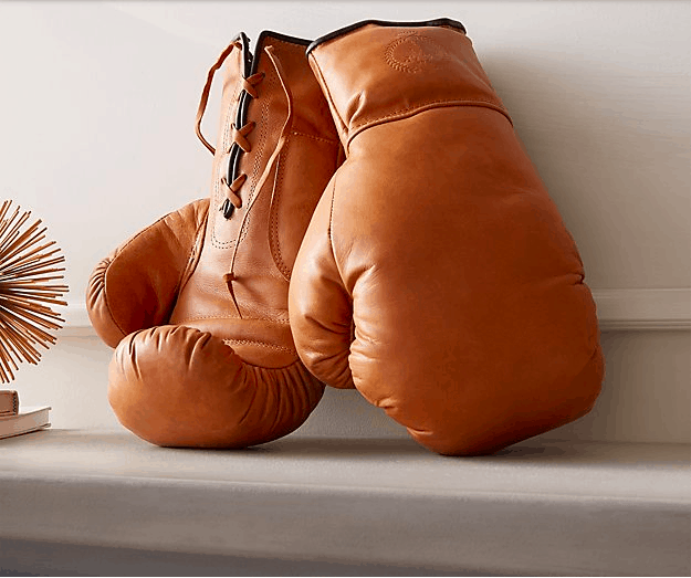 CB2 Luxe Tan Leather Boxing Gloves