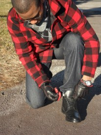 Lands End Lumberjack Jacket, H&M leather Gloves, Ritano Wingtip Boots, Scarf by Gap, Watch by Goer & band by J.Crew, Denim by H&M