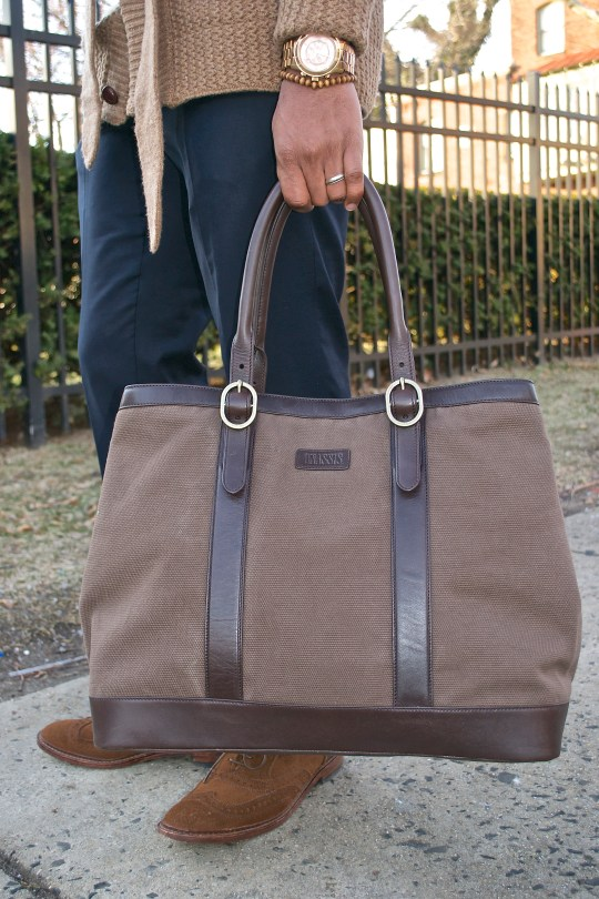 Onassis Clothing Belted Cardigan & Tote Bag- Men's Style Pro