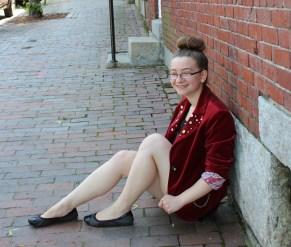 Red Velvet Blazer women sit in street