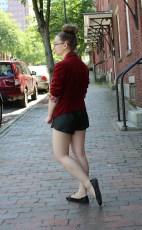 Red velvet burgundy blazer back view