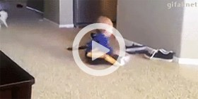 Cat Jumps over and knocks baby down