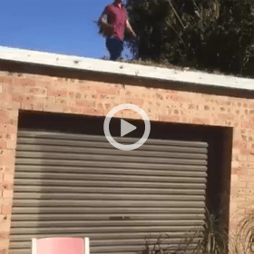 Guy Grabs Tree Limb To Help Himself Off Of Roof
