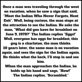 Indian who never forgets joke